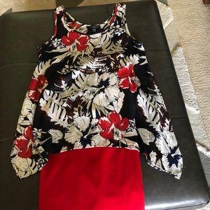Karen Kane Floral Print Sleeveless Top Med